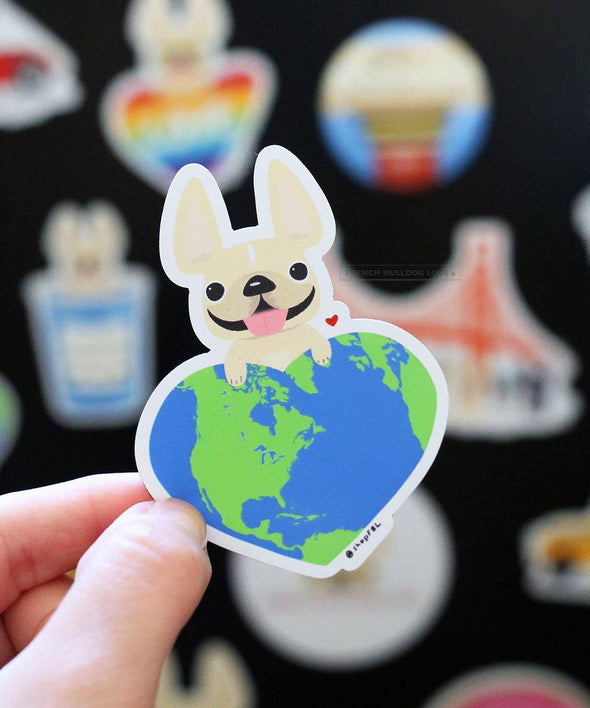 Earth Love Magnet - French Bulldog Magnet