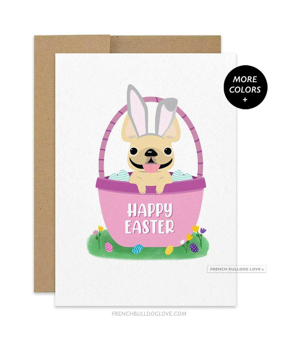 Frenchie Basket - French Bulldog Easter Card
