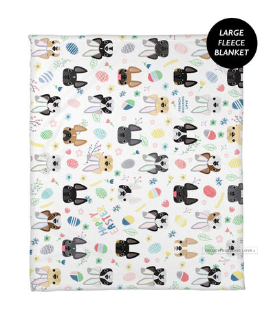 Easter Time French Bulldog Fleece Blanket - Large