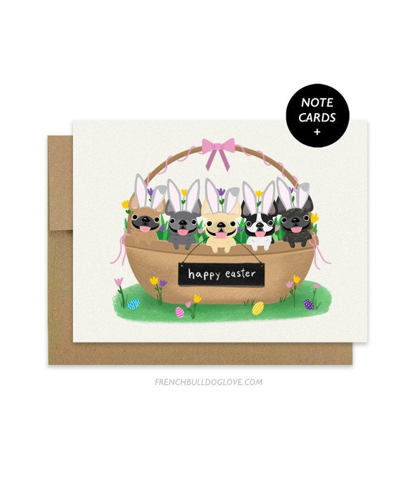 Bunny Basket Easter Note Cards - Box Set of 12 - French Bulldog Love