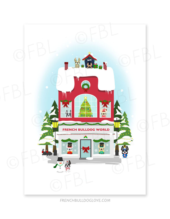 Miracle on Frenchie Street French Bulldog World Holiday Christmas Card - French Bulldog Love