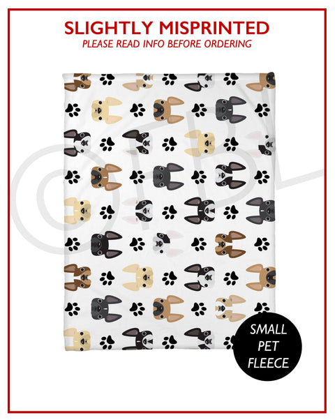 SLIGHTLY MISPRINTED Frenchie Faces Fleece Blanket - Small // FINAL SALE