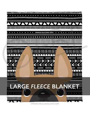 Fawn Mono / Geometric French Bulldog Fleece Blanket - Large