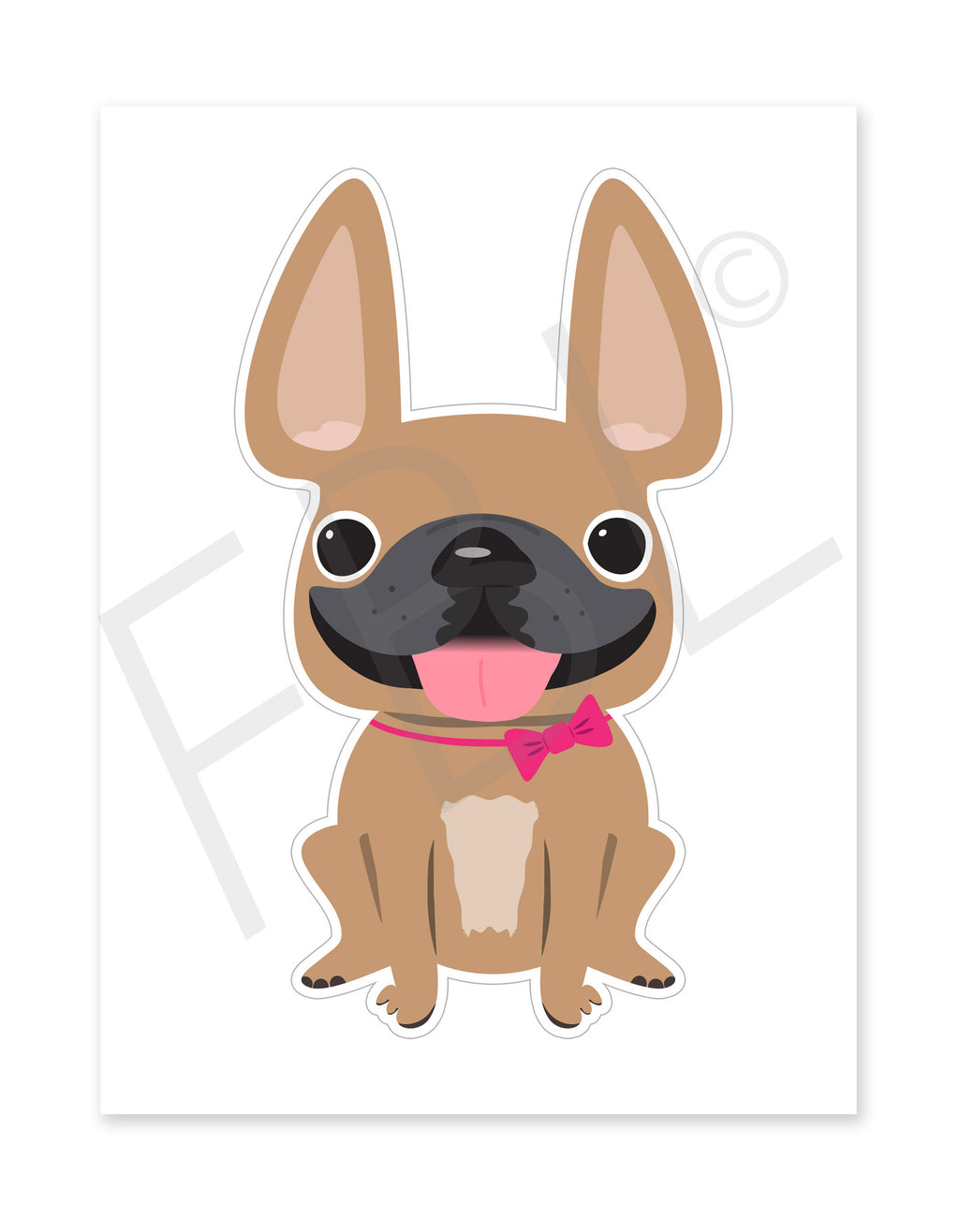 Fawn Girl / Large French Bulldog Sticker - French Bulldog Love