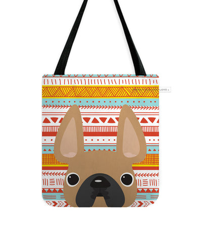 Fawn / Geometric French Bulldog Tote Bag