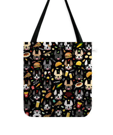 Bon Appetit! French Bulldog Tote Bag - Black