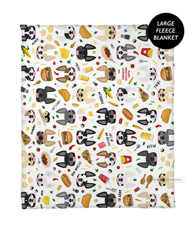 Bon Appetit! French Bulldog Fleece Blanket - Large