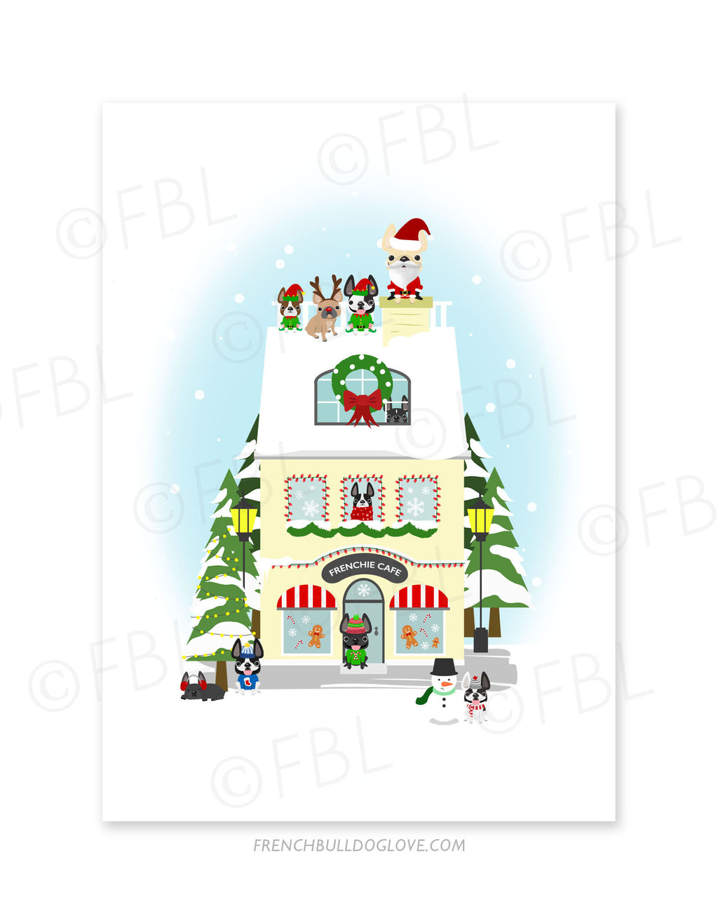 Miracle on Frenchie Street Frenchie Cafe Holiday Christmas Card - French Bulldog Love