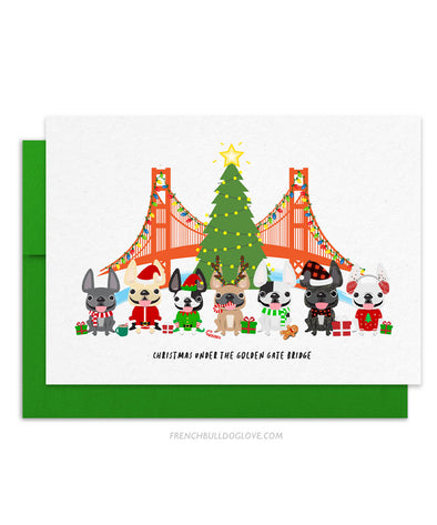 Christmas Under the Golden Gate Bridge French Bulldog Holiday Christmas Card
