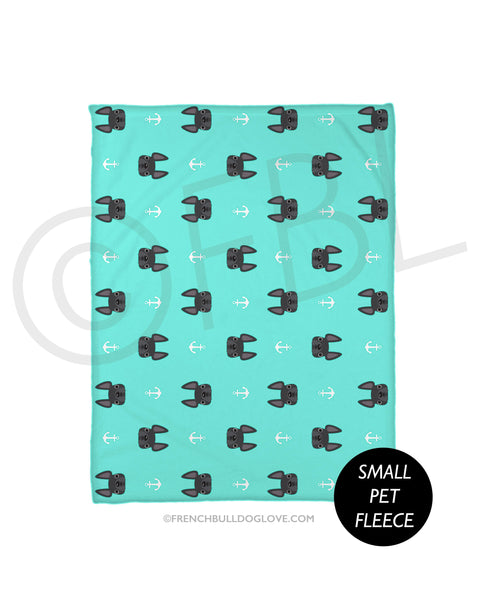 Anchors Grey French Bulldog Fleece Blanket - Small