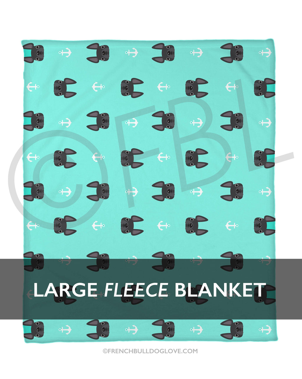 Anchors Grey French Bulldog Fleece Blanket - Large