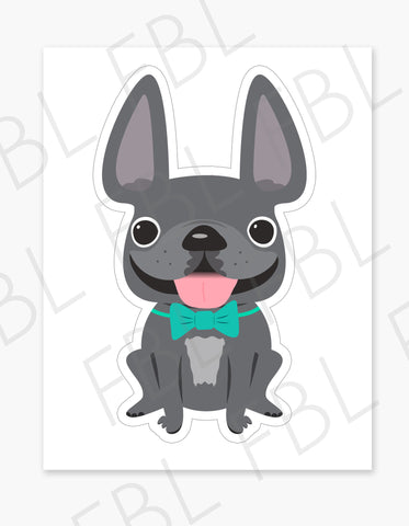 Grey Boy / Large French Bulldog Sticker - French Bulldog Love