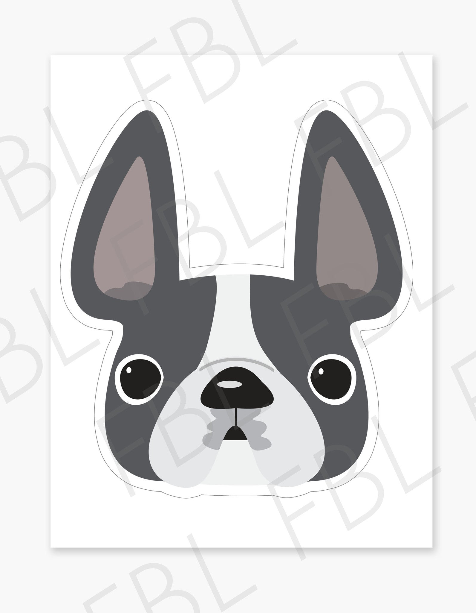 Grey Pied / Large French Bulldog Sticker