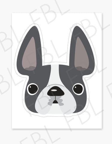 Grey Pied / Large French Bulldog Sticker - French Bulldog Love