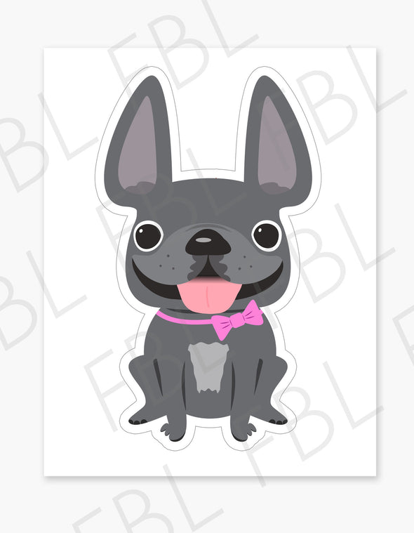 Grey Girl / Large French Bulldog Sticker - French Bulldog Love