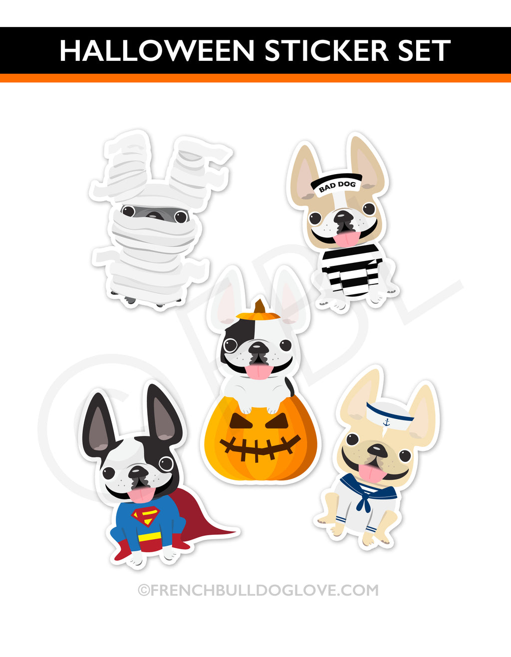 french bulldog halloween stickers