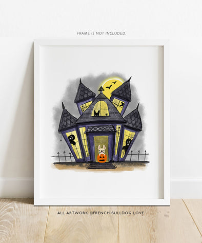 Spooky Mansion - French Bulldog Halloween Print 8x10