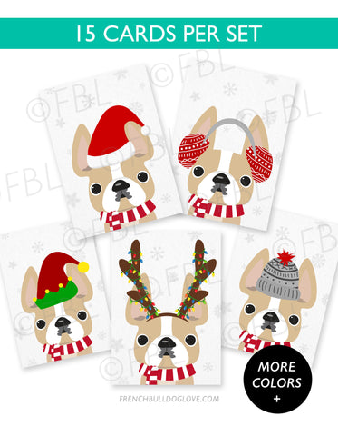 Festive Frenchies 15 Card Holiday Box Set - French Bulldog Love - 1