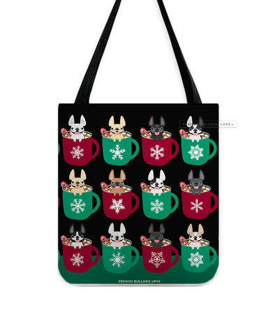 Hot Cocoa French Bulldog Holiday Tote Bag -Black
