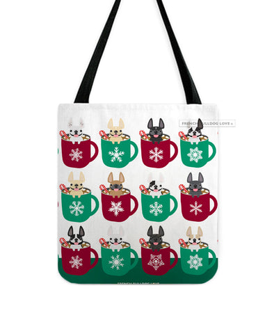Hot Cocoa French Bulldog Holiday Tote Bag - White