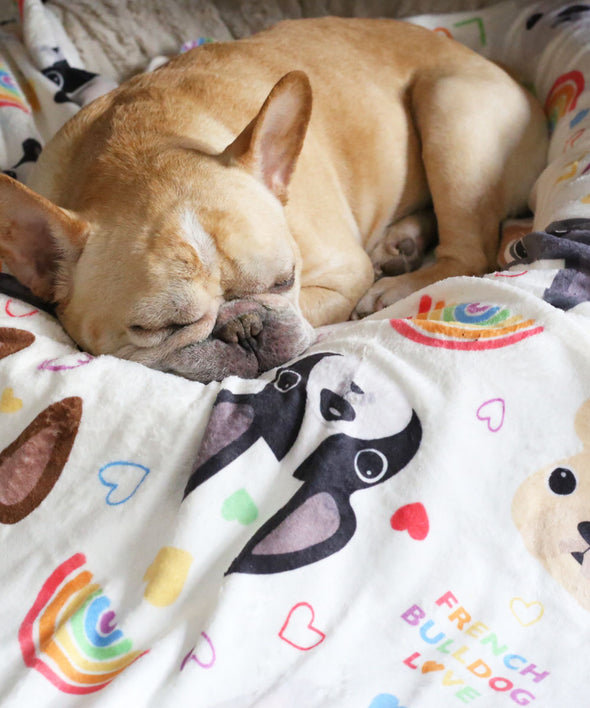 LOVE IS LOVE French Bulldog Fleece Blanket - Large