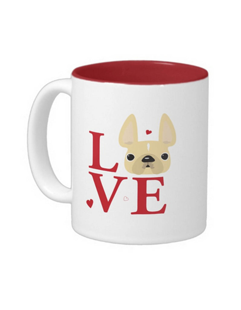 LoVE / Cream French Bulldog Mug - French Bulldog Love