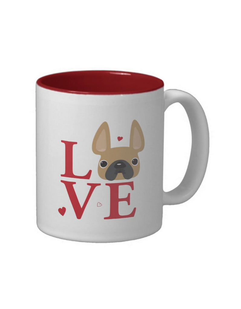 LoVE / Fawn French Bulldog Mug with Red Interior - French Bulldog Love