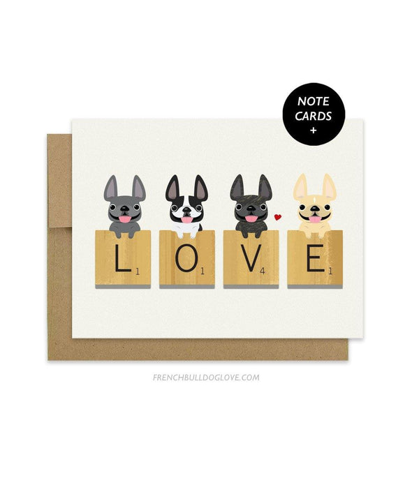 Love Letters - French Bulldog Note Cards - Set of 12
