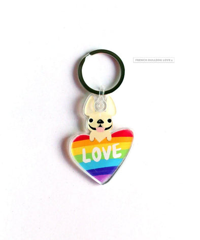 Frenchie Love Keychain - Clear Acrylic