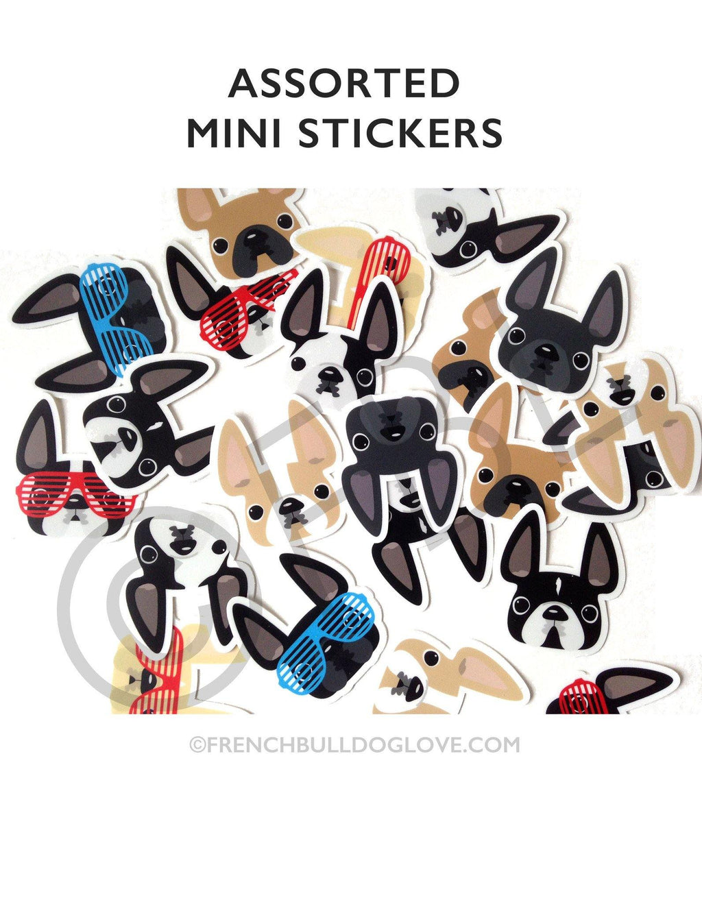 Assorted French Bulldog Mini Stickers - French Bulldog Love - 1