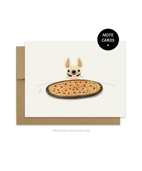 #100DAYPROJECT French Bulldog Note Cards Box Set of 12 - PIZZA - French Bulldog Love