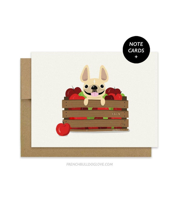 #100DAYPROJECT French Bulldog Note Cards Box Set of 12 - APPLES