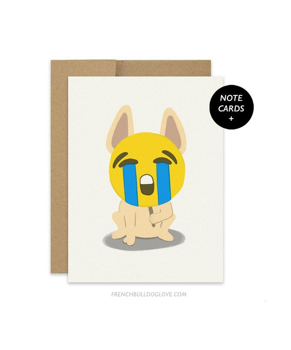 #100DAYPROJECT French Bulldog Note Cards Box Set of 12 - CRYING EMOJI