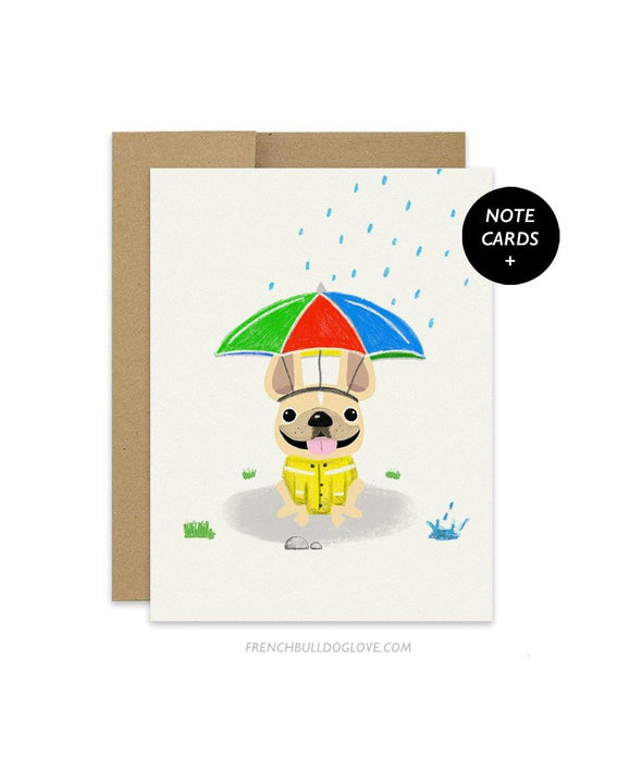 #100DAYPROJECT French Bulldog Note Cards Box Set of 12 - RAIN