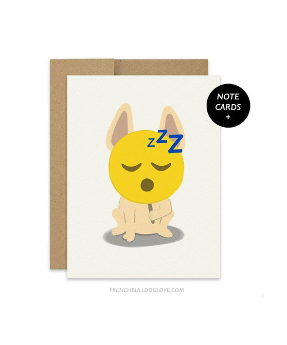 #100DAYPROJECT French Bulldog Note Cards Box Set of 12 - SLEEPY EMOJI