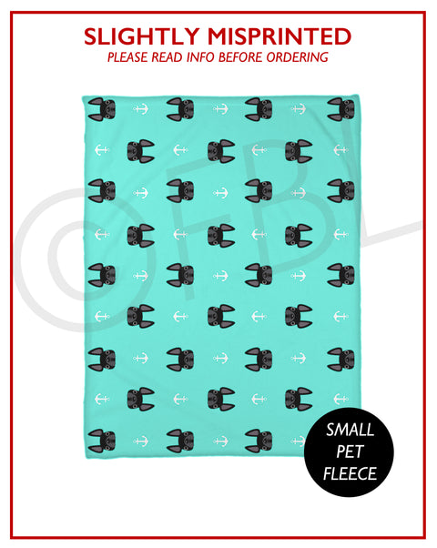 SLIGHTLY MISPRINTED Anchors Fleece Blanket - BLACK - Small // FINAL SALE