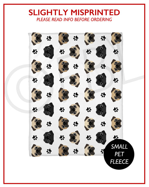 SLIGHTLY MISPRINTED Classic Pug Fleece Blanket - Small // FINAL SALE