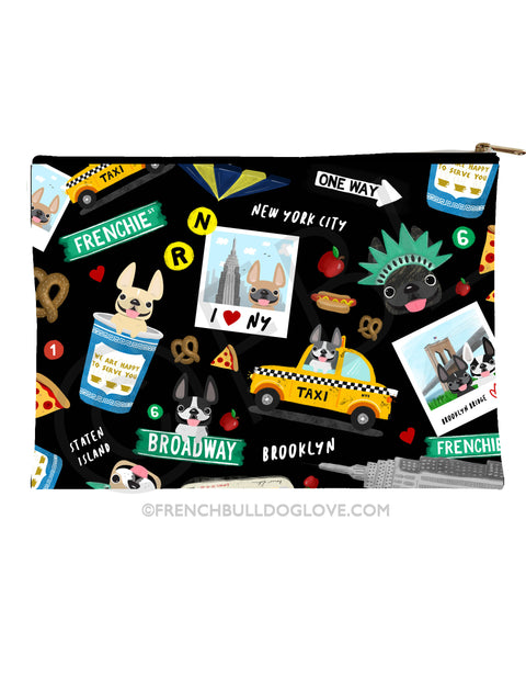 New York New York French Bulldog Pouch - BLACK - Large