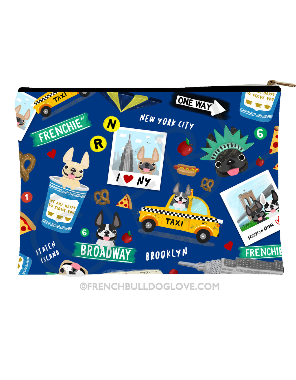 New York New York French Bulldog Pouch - BLUE - Large