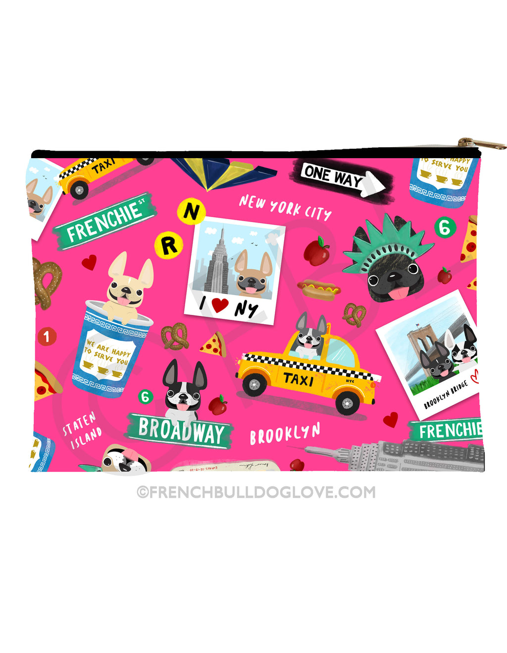 New York New York French Bulldog Pouch - PINK - Large