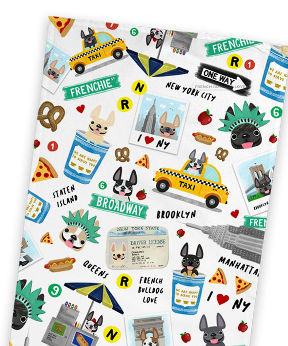NYC Frenchies Tea Towel