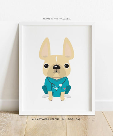 THANK YOU NURSES - French Bulldog Print 8x10