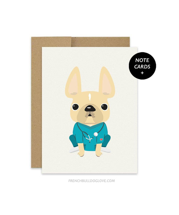 THANK YOU NURSES French Bulldog Note Cards - Set of 12