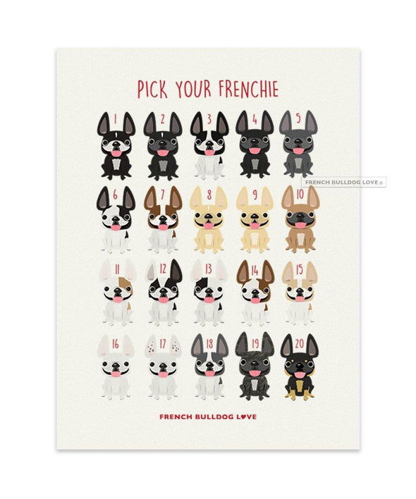 Roses - French Bulldog Note Cards - Set of 12 - French Bulldog Love
