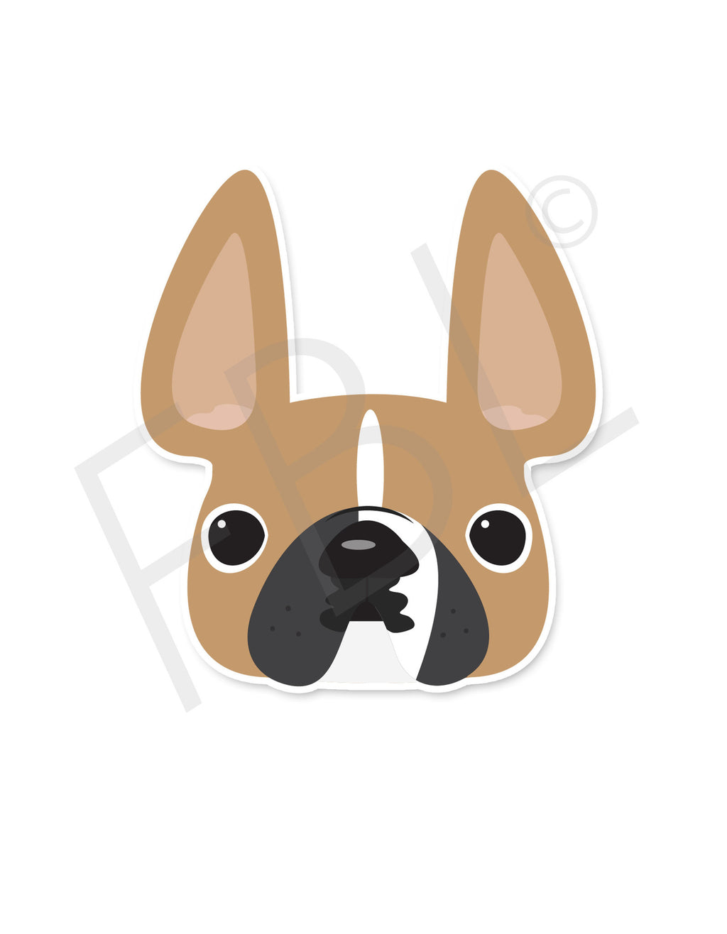 Fawn Pied / French Bulldog Mini Sticker