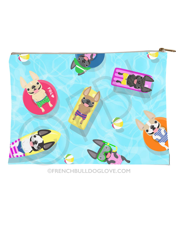 Frenchie Pool Party Accessory Pouch - Large