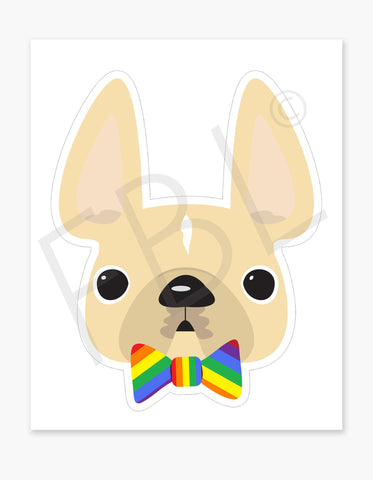 Limited Edition Love Wins / Large French Bulldog Sticker - French Bulldog Love