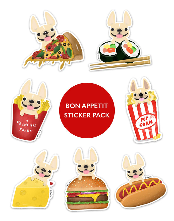 BON APPETIT STICKER PACK - Set of 7 - Waterproof Vinyl Stickers