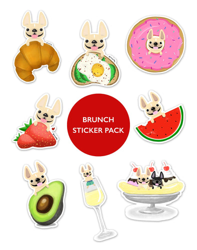 BRUNCH STICKER PACK - Set of 8 - Waterproof Vinyl Stickers