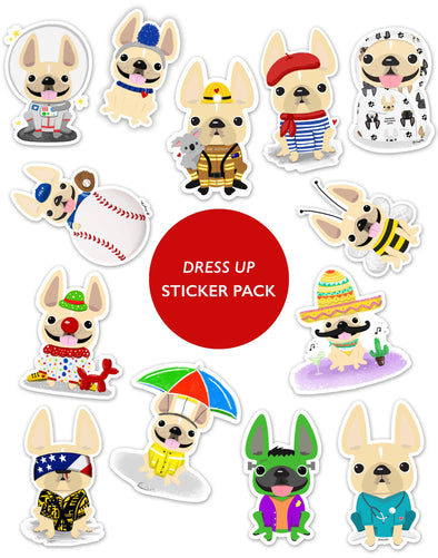 DRESS UP STICKER PACK - Set of 13 - Waterproof Vinyl Stickers